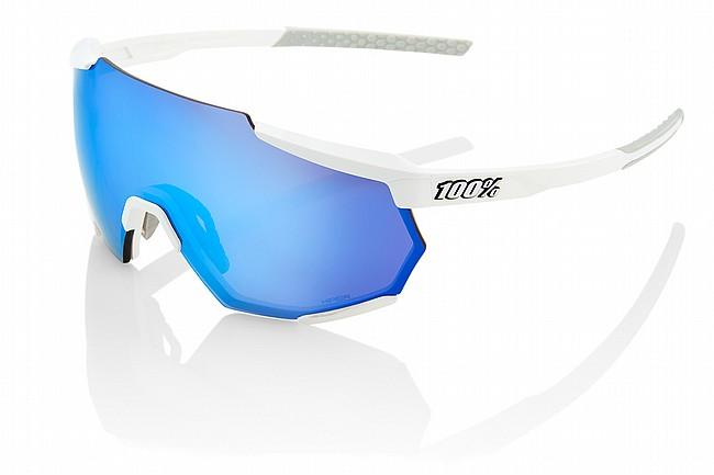 100% Racetrap Matte White/HiPER Blue Multilayer Mirror Lens