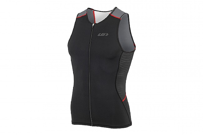 Louis Garneau Mens Comp Sleeveless Triathlon Top Black/Gray/Red - Small