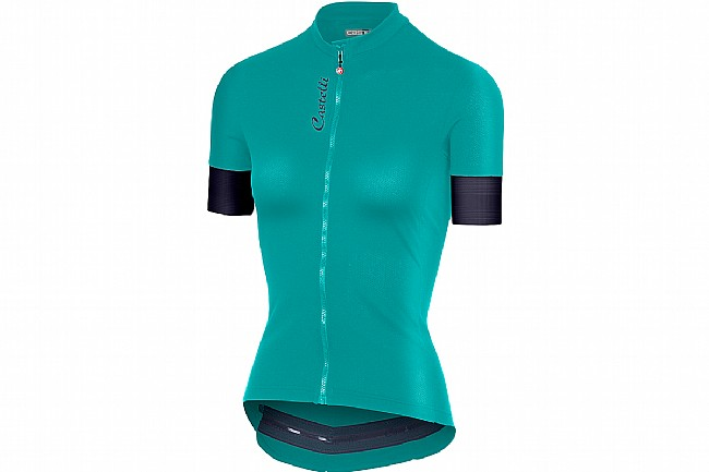 Castelli Womens Anima 2 Jersey FZ  Turquoise Green/Dark Steel Blue