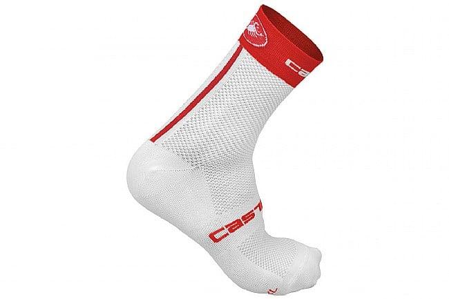 Castelli Free 9 Sock White/Red - Small/Medium