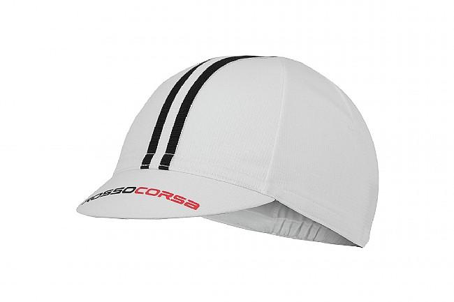 Castelli Rosso Corsa Cycling Cap White / Black - One Size