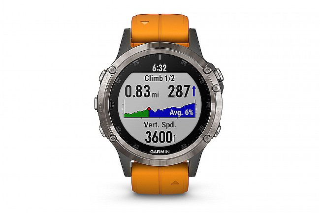Garmin Fenix 5 Plus Sapphire GPS Watch Titanium - Solar Flare Orange Band
