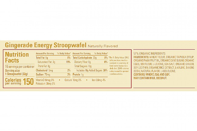 GU Energy Stroopwafel (Box of 16) Gingerade Nutrition Facts