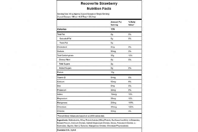 Hammer Nutrition Recoverite (32 Servings) Strawberry Nutrition Facts