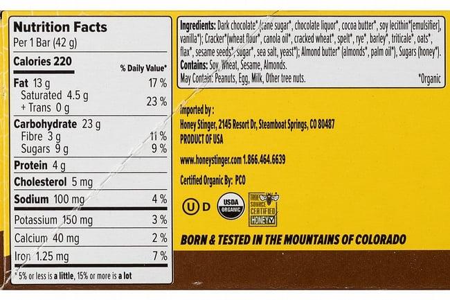 Honey Stinger Organic Cracker Bar (Box of 12) Almond Butter Dark Chocolate Nutrition Facts