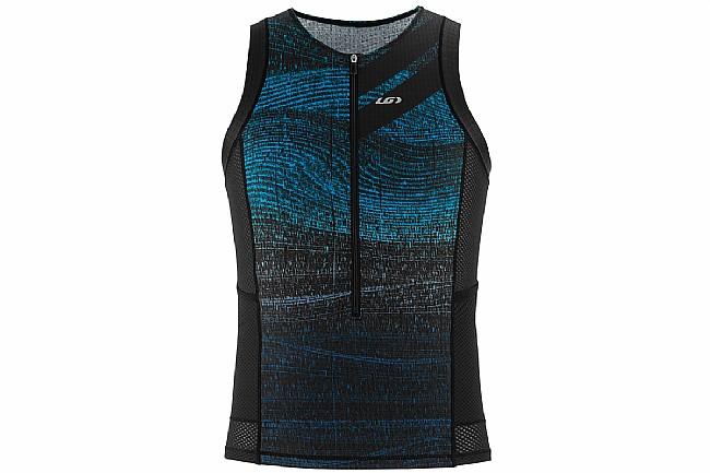 Louis Garneau Mens Vent Tri Sleeveless Jersey Black/Blue-Medium