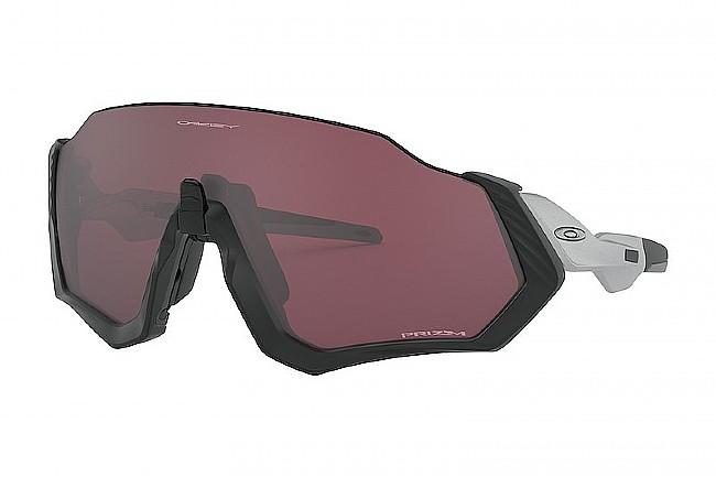 Oakley Flight Jacket Sunglasses Matte Black/Silver - Prizm Road Black Lenses