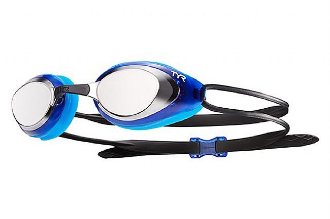 TYR Sport Black Hawk Racing Mirrored Goggle Silver/Blue/Black