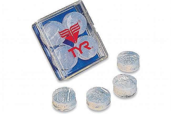 TYR Sport Soft Silicone Ear Plugs  Clear - 4 Pack/2 Pairs