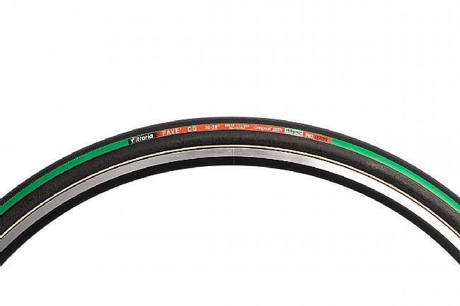Vittoria Pave CG III Tubular Road Tire (320 TPI) 700 x 30mm - Black/Green/Black