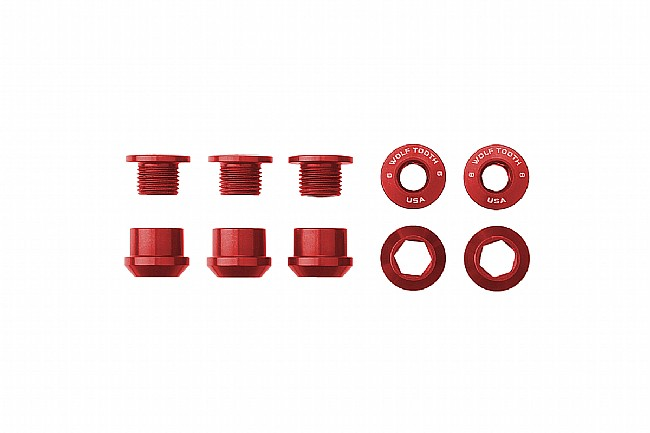 Wolf Tooth Components Set of 5 Alloy Chainring Bolts for 1x Drivetrains Red