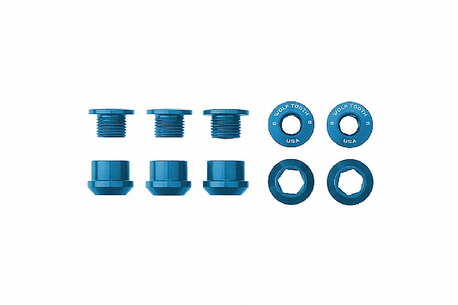 Wolf Tooth Components Set of 5 Alloy Chainring Bolts for 1x Drivetrains Blue
